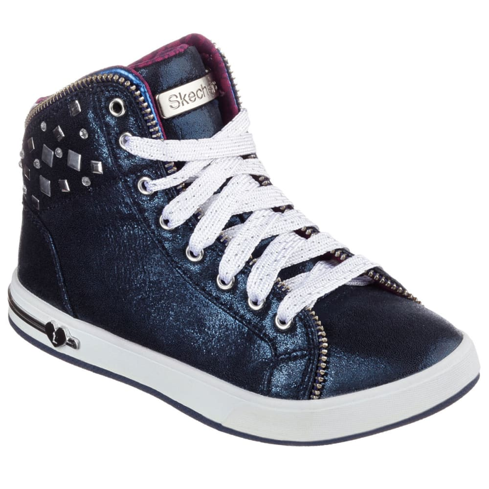 SKECHERS Girls' Shoutouts  Zipsters Sneakers - NAVY