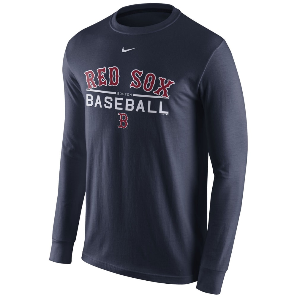 NIKE Men's Boston Red Sox Practice Long-Sleeve Tee - NAVY