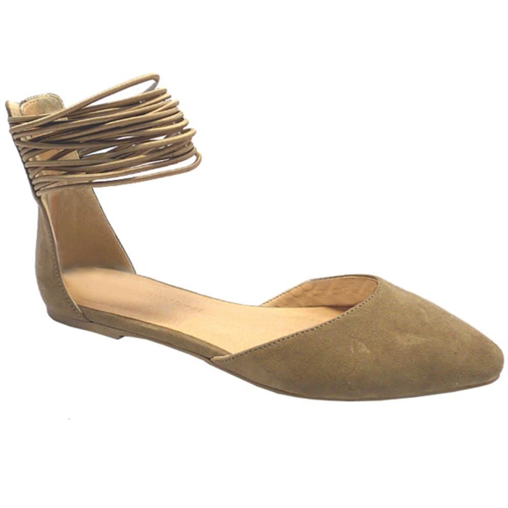 WILD DIVA Women's Multi-Strap Pippa Flats - TAUPE
