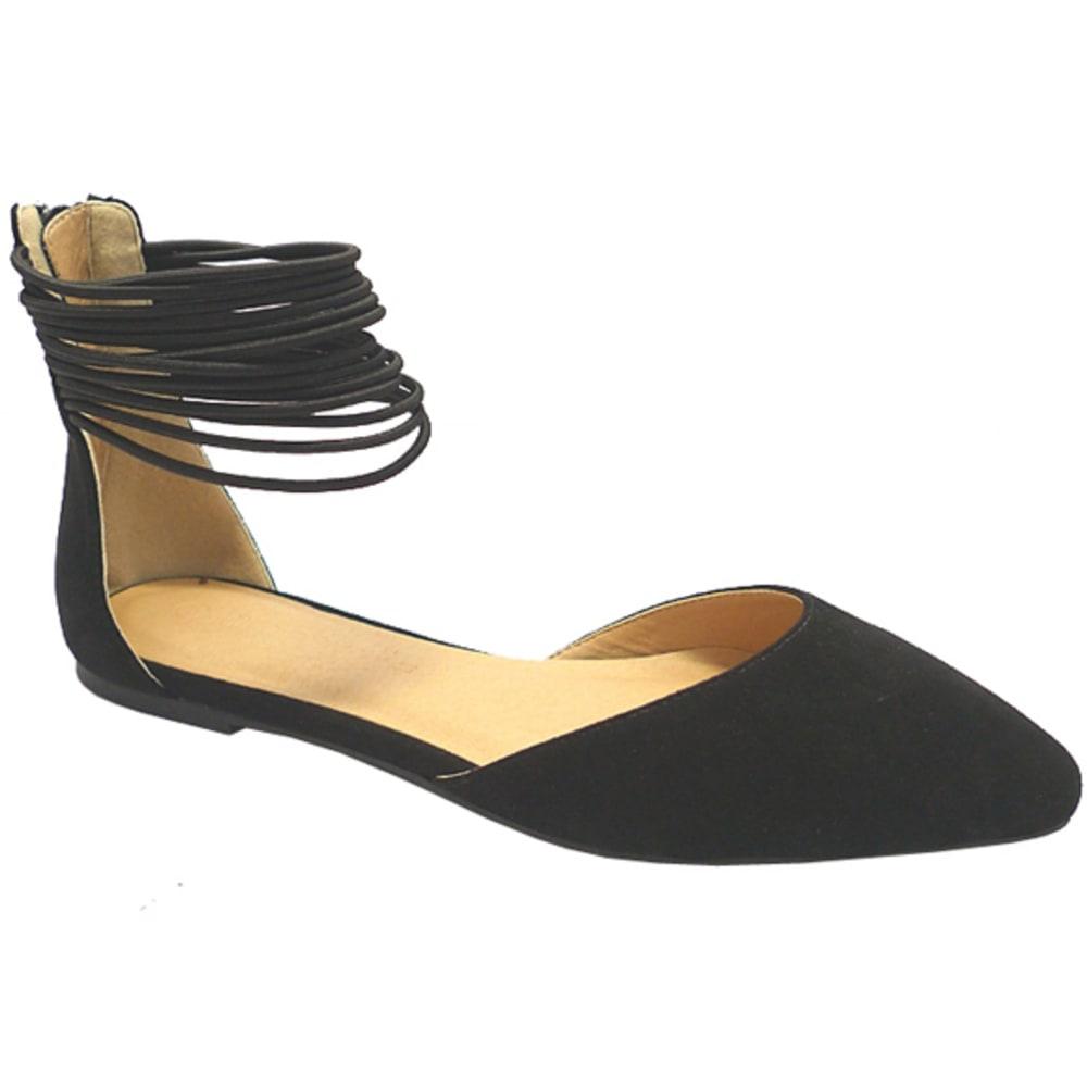 WILD DIVA Women's Multi-Strap Pippa Flats - BLACK
