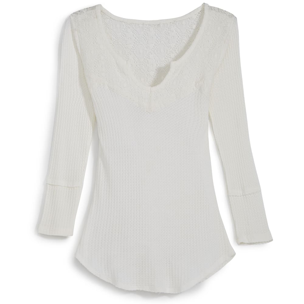 RUSH Juniors' Mega Thermal Shirt with Crochet Detail - IVORY