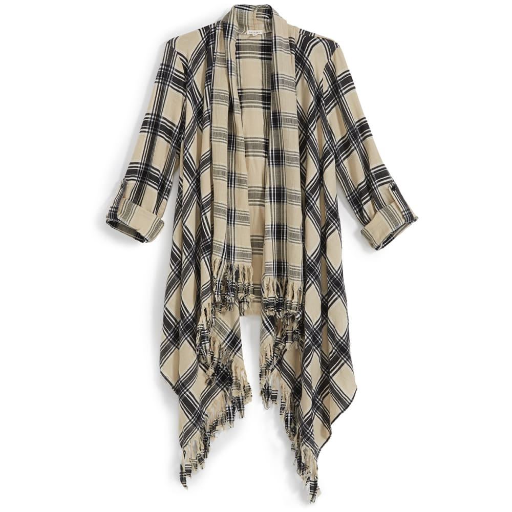 EN CRÈME Juniors' Plaid Open Cardigan with Fringe Hem - BGBK-BLACK/WHITE