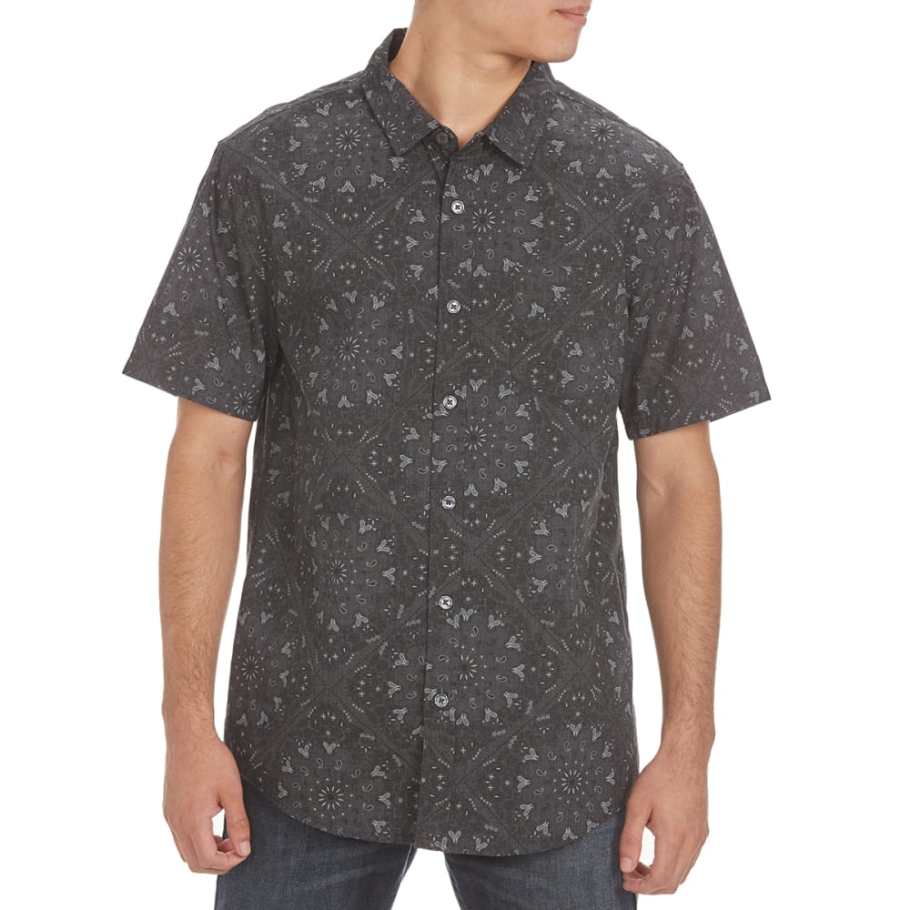 RETROFIT Guys' All-Over Print Short-Sleeve Shirt - BLACK HEATHER