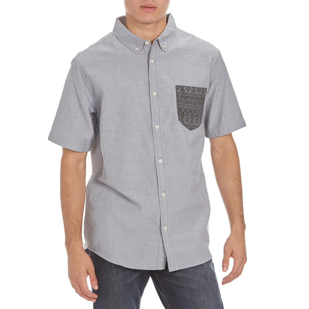 RETROFIT Guys' Printed Pocket Oxford Shirt - NEW WORLD GREY