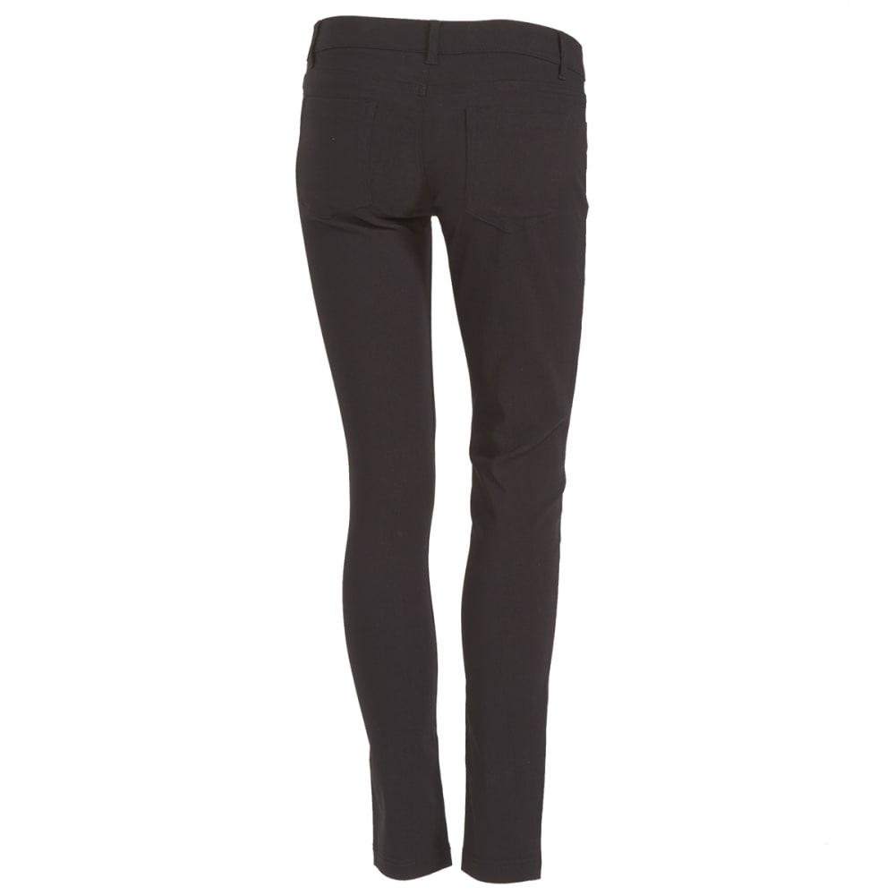 SHINESTAR Juniors' Five-Pocket Woven Twill Ponte Pants - BLACK