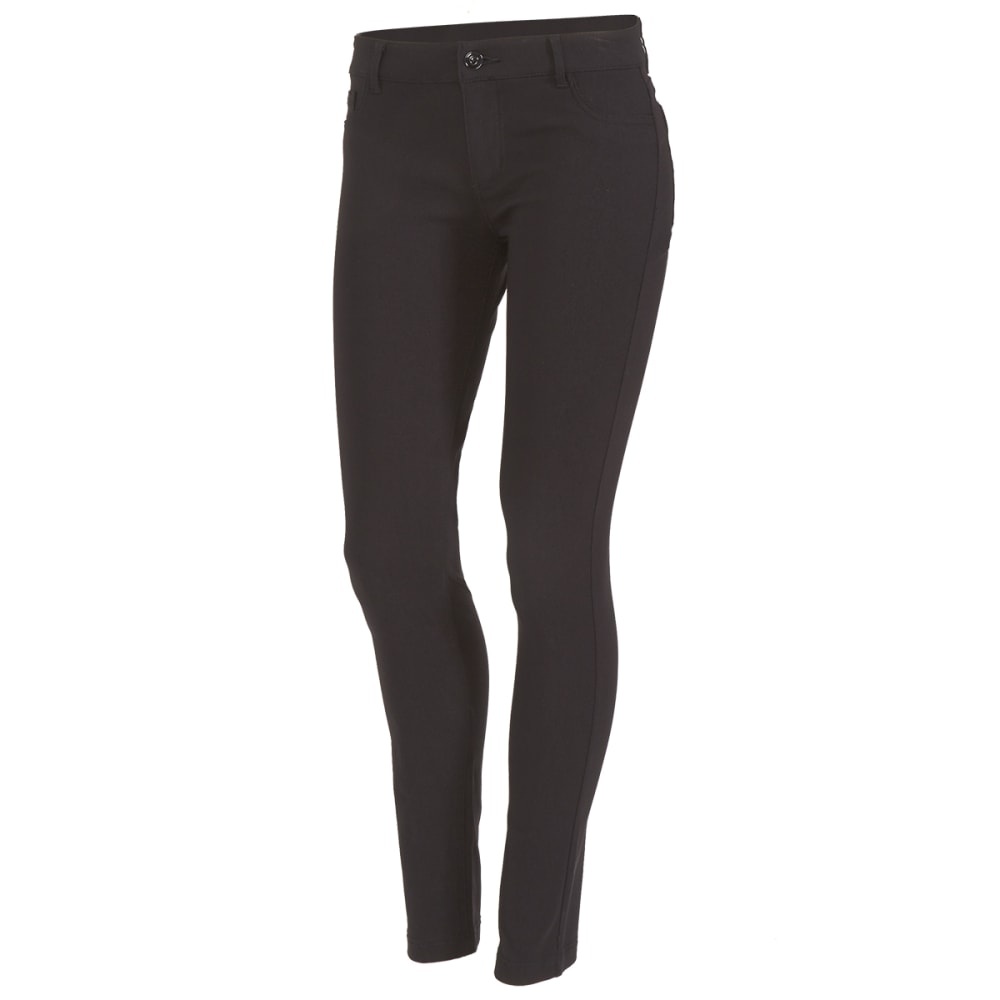 SHINESTAR Juniors' Five-Pocket Woven Twill Ponte Pants - BLACK
