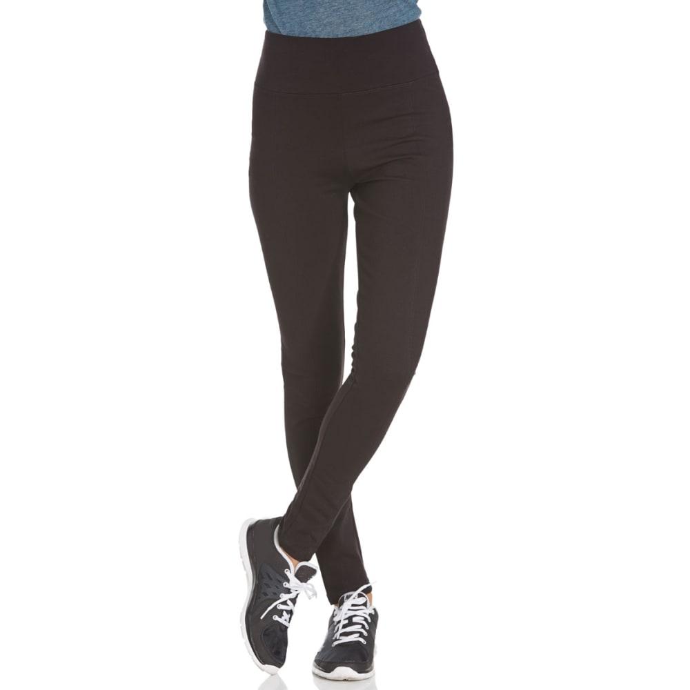 SHINESTAR Juniors' Tummy Tuck Ponte Pants - BLACK
