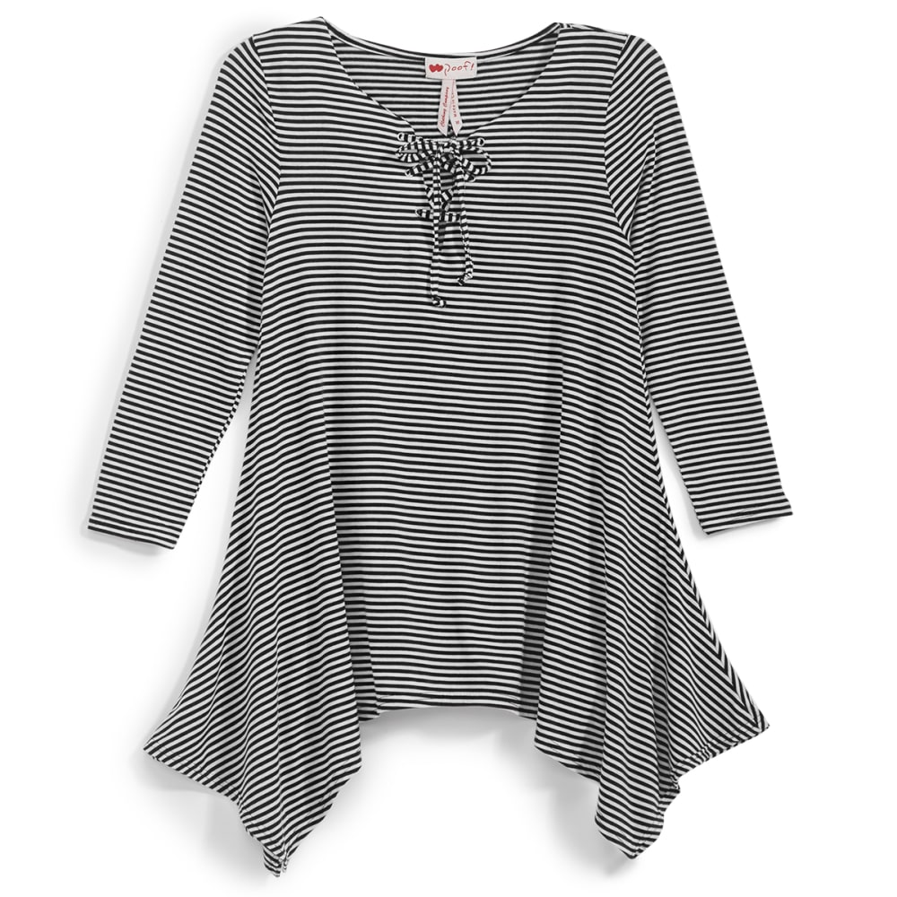 POOF Juniors' Striped Lace-Up Shark Bite Tunic Top - BLACK/EGGWHITE