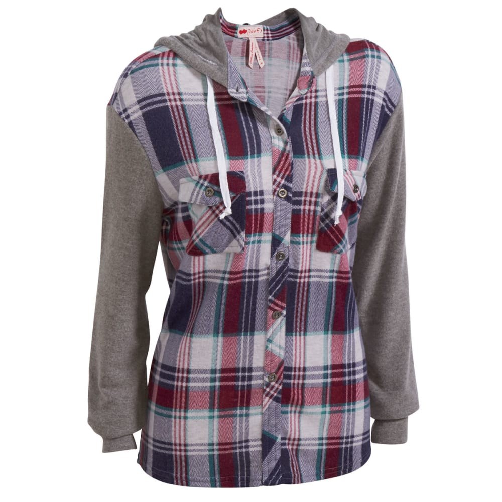 POOF Juniors' Brushed Plaid Snit Hoodie - BURGUNDY COMBO