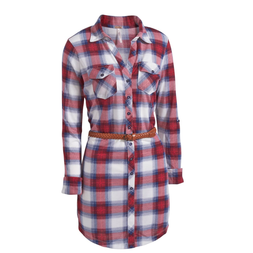 POOF Juniors' Plaid Jersey Belted Shirt Dress - RED COMBO