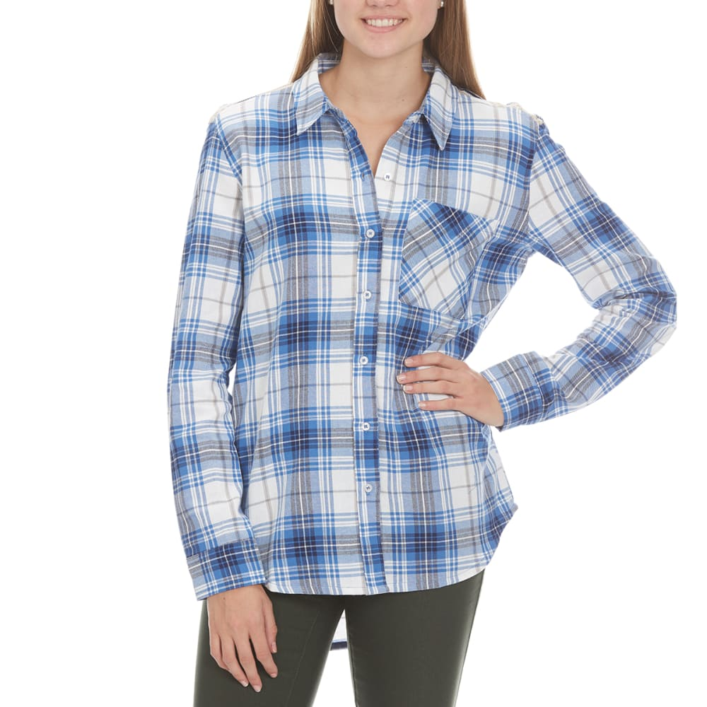 POOF Juniors' Plaid Flannel Top with Snit Yoke - CORN FLOWER COMBO
