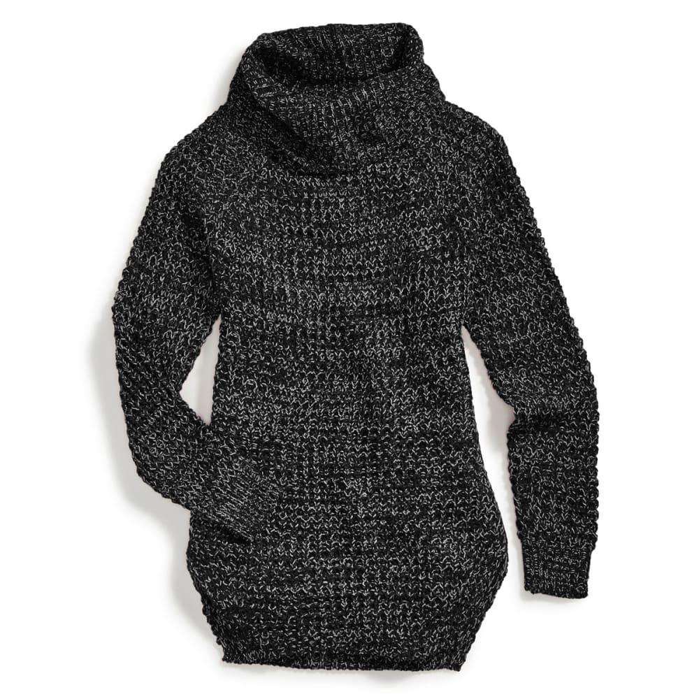 POOF Juniors' Tuck-Stitch Cowl Neck Circle Hem Sweater - BLACK MARL