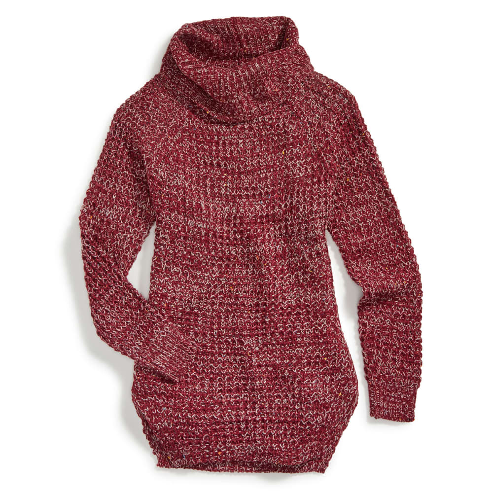 POOF Juniors' Tuck-Stitch Cowl Neck Circle Hem Sweater - BURGUNDY MARL