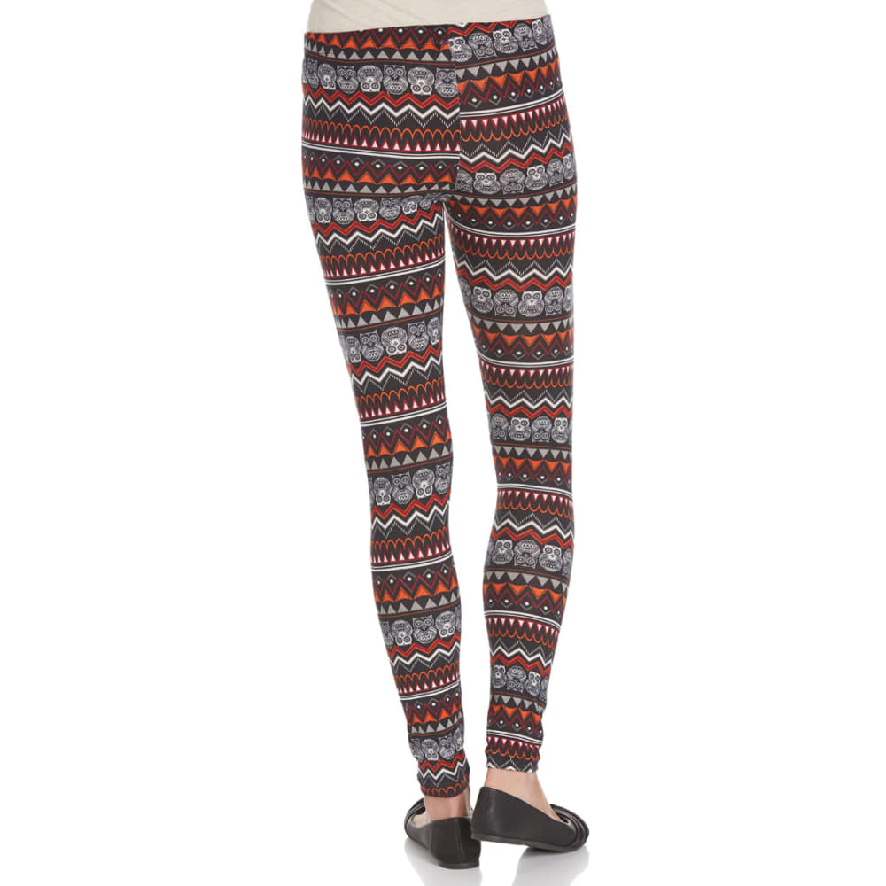POOF Juniors' Owl Print Peached Leggings - SPICE COMBO