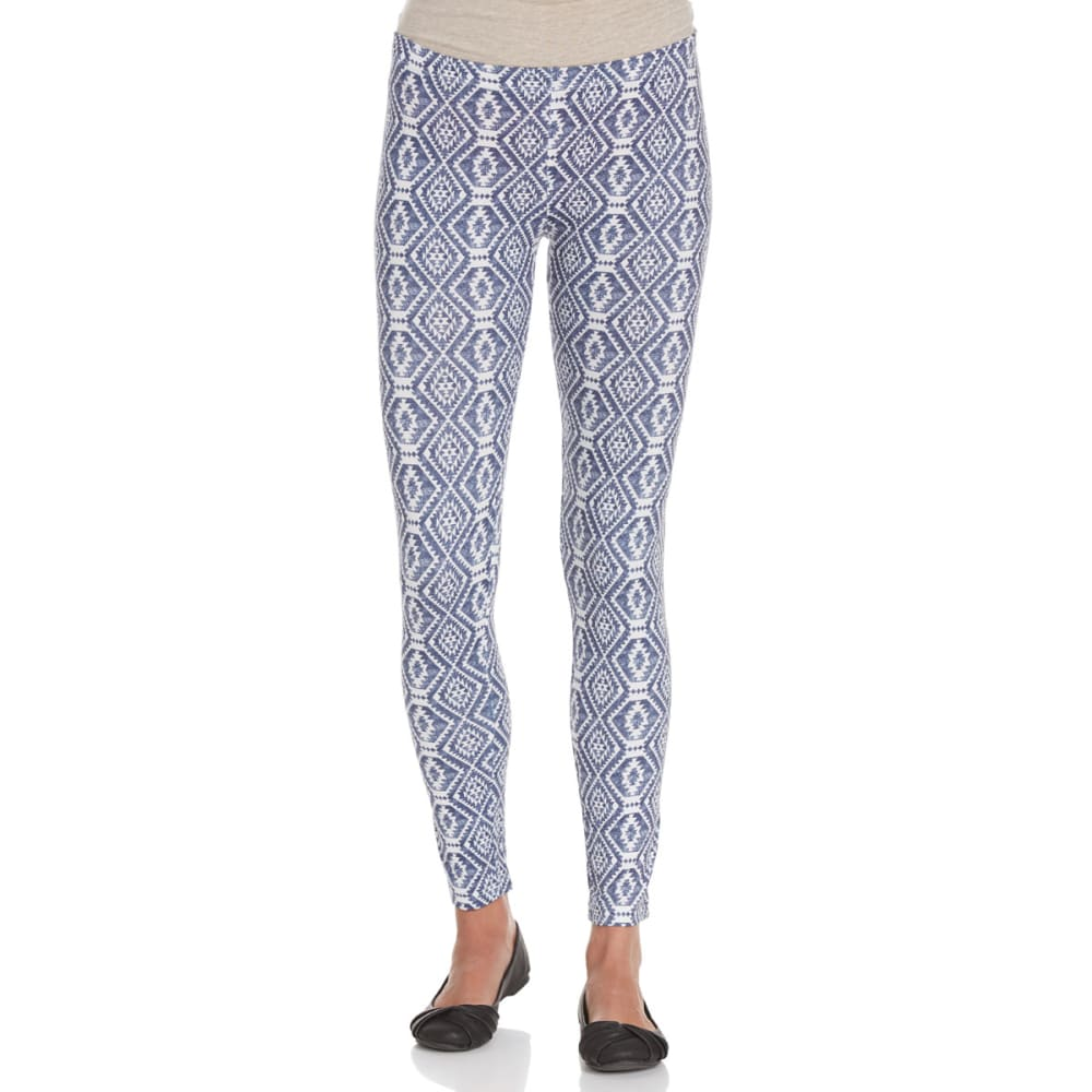POOF Juniors' Aztec Print Peached Leggings - NEW NAVY/IVORY COMBO