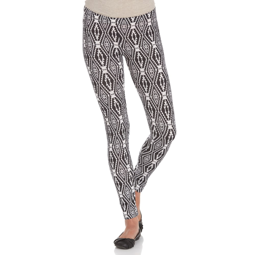 POOF Juniors' Ikat Print Peached Leggings - BLACK/IVORY