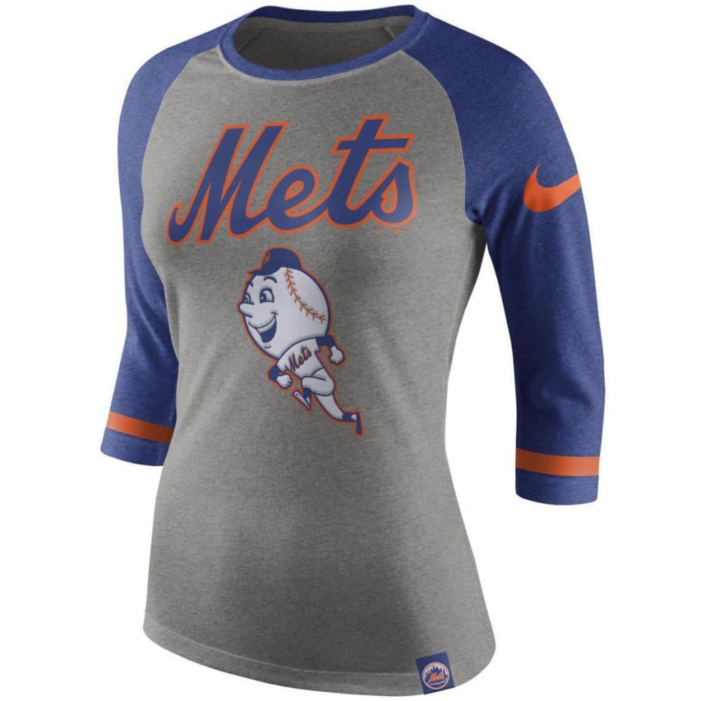 NIKE Women's New York Mets Mr. Met Raglan ¾-Sleeve Tee - GREY