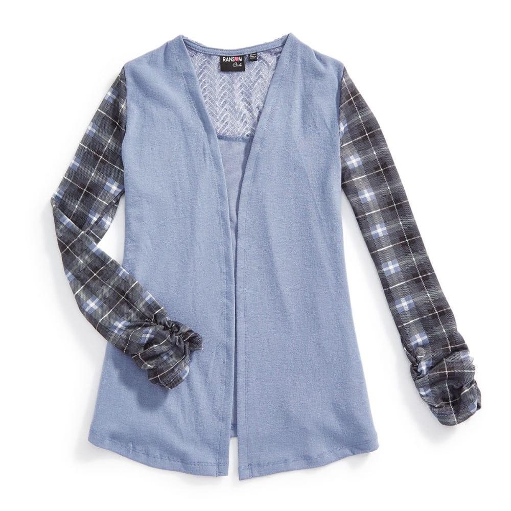 RANSOM GIRL Girls' Mixed Media Plaid Sleeve Brushed Cardigan - CHAMBRAY