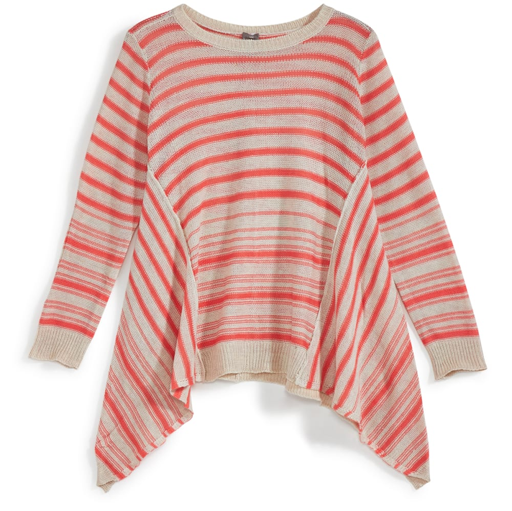 POOF Girls' Striped Shark Bite Pullover Sweater - SUGAR CORAL/IVORY