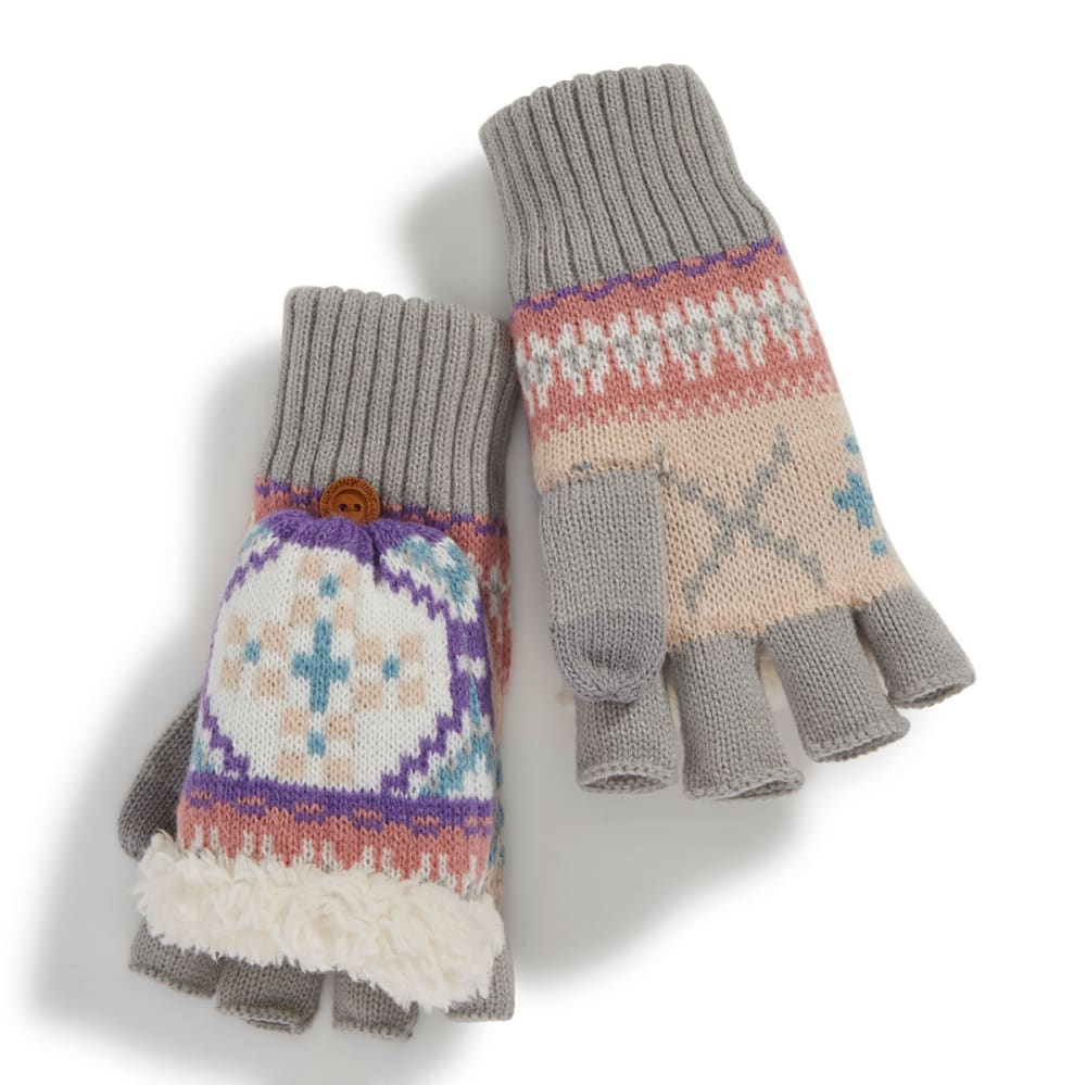 MUK LUKS Women's X Fair Isle Flip-Top Gloves - X FAIRISLE