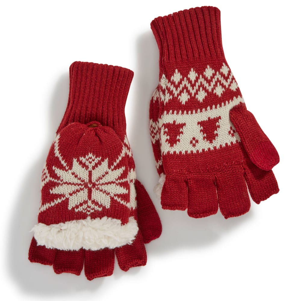 MUK LUKS Women's Two-Color Nordic Flip-Top Gloves - 2 COLOR NORDIC
