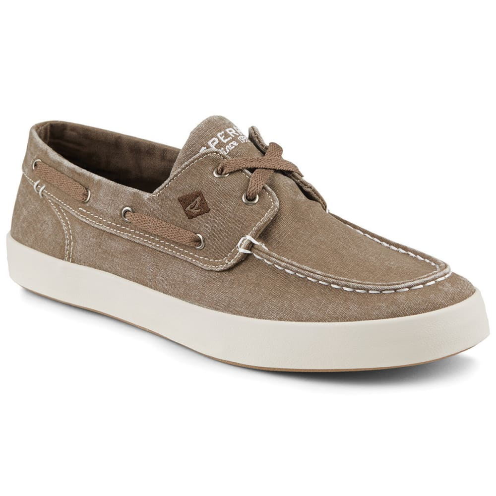 SPERRY Men's Wahoo 2-Eye Canvas Boat Shoes, Chocolate - BROWN