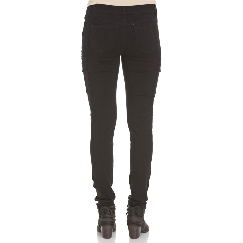 WAX JEAN Juniors' Cargo Pocket Twill Pants - BLACK WASH