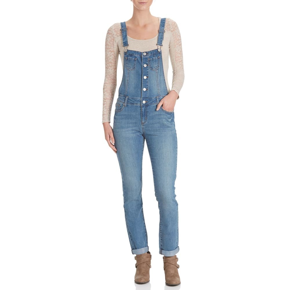 WAX JEAN Juniors' Washed Overalls with Rolled Cuffs - MEDIUM WASH