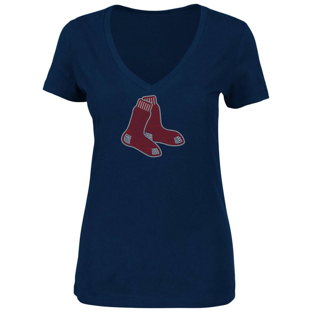 BOSTON RED SOX Women's Dream of Diamonds Short-Sleeve Tee - NAVY