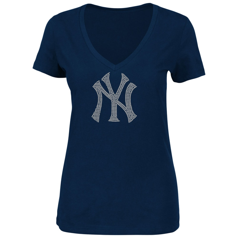 NEW YORK YANKEES Women's Dream of Diamonds Short-Sleeve Tee - NAVY