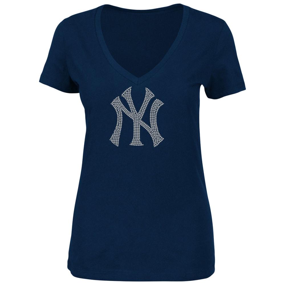 NEW YORK YANKEES Women's Dream of Diamonds Short-Sleeve Tee - NAVY