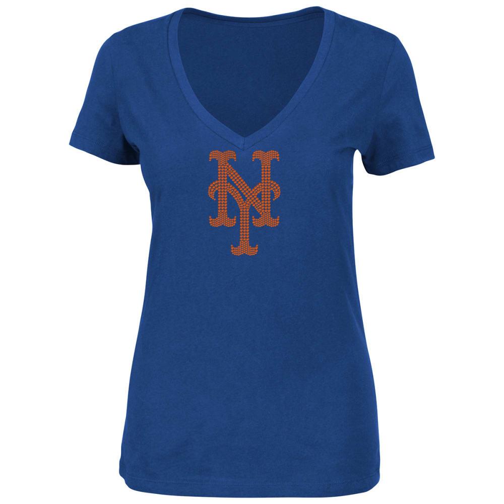 NEW YORK METS Women's Dream Diamond V-Neck Tee - ROYAL BLUE