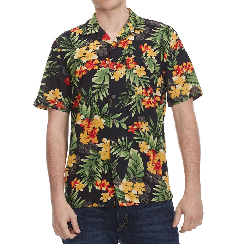 OLIVER & BURKE Men's Printed Rayon Short-Sleeve Shirt - GARDEN115-BK001