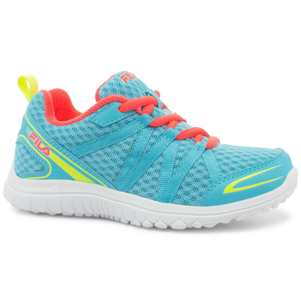 FILA Girls' Flyver Running Shoes - LIGHT BLUE/ORANGE