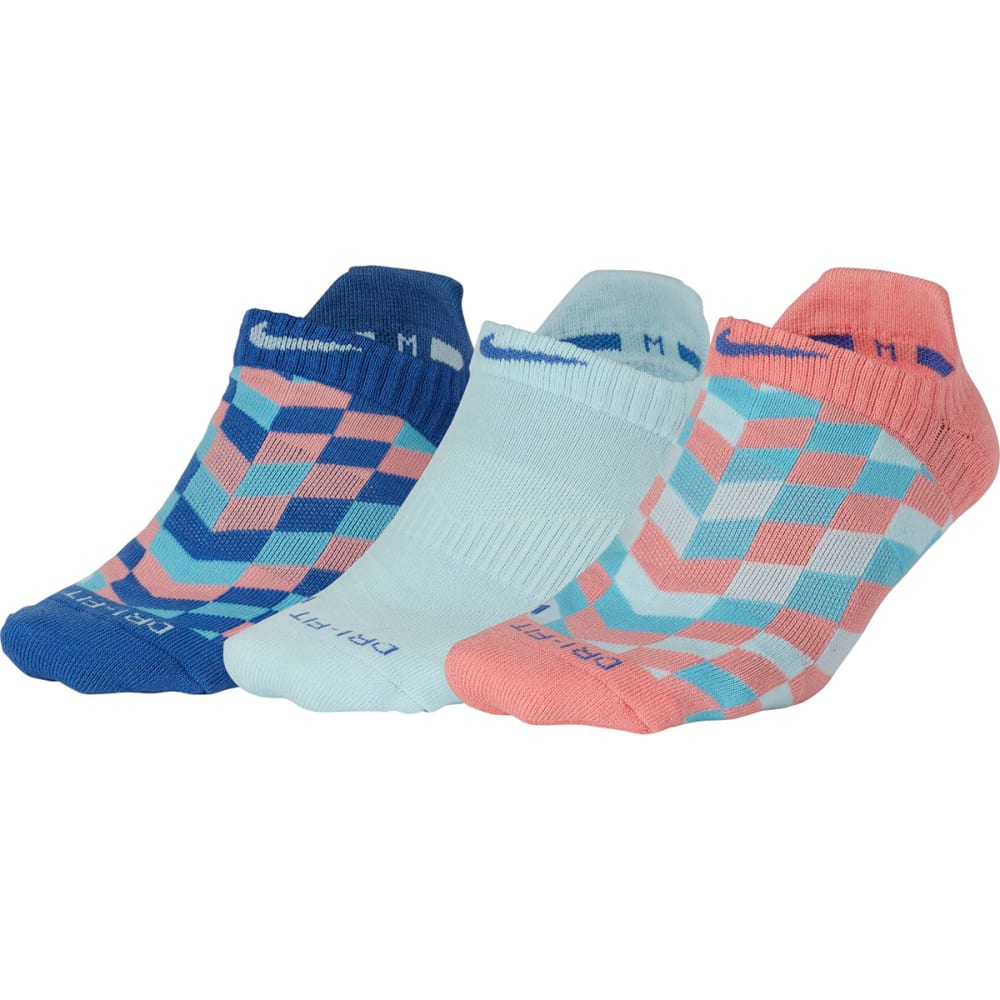 NIKE Women's Dri-FIT Graphic No-Show Training Socks, 3-Pack - MULTI-COLOR GRAPHIC