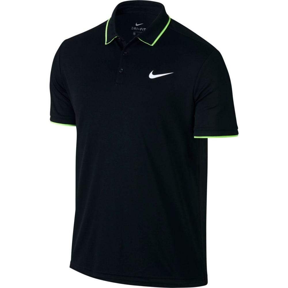 NIKE Men's Court Dry Team Short-Sleeve Polo Shirt - BLACK/BLACK-010