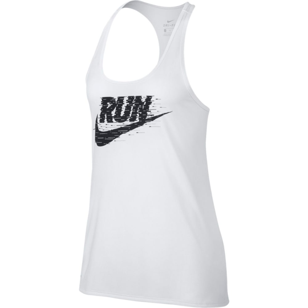 NIKE Women's Dri-FIT Swoosh Racerback Running Tank Top - WHITE/BLACK-100