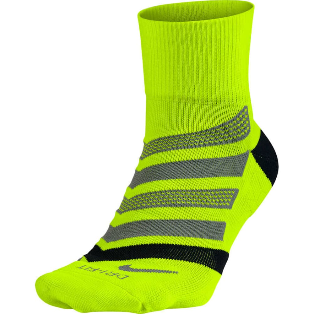 NIKE Men's  Dri-Fit Cushion Quarter Running Socks - 702-VOLT/BLK
