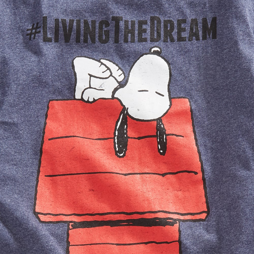 HYBRID Guys' Peanuts Living the Dream Short-Sleeve Tee - HTR NAVY
