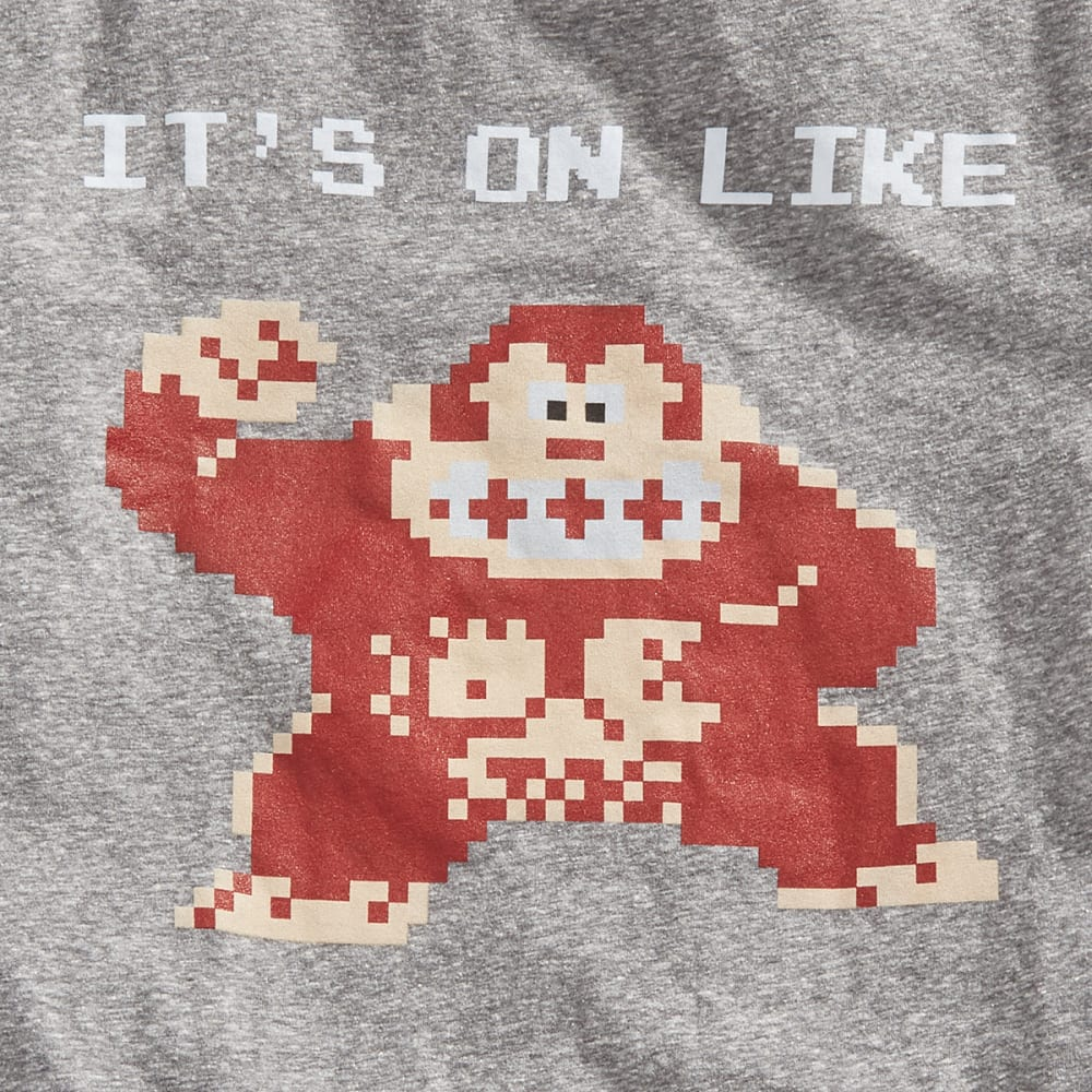 HYBRID Guys' Nintendo It's On Pixel Short-Sleeve Tee - CHAR SNOW