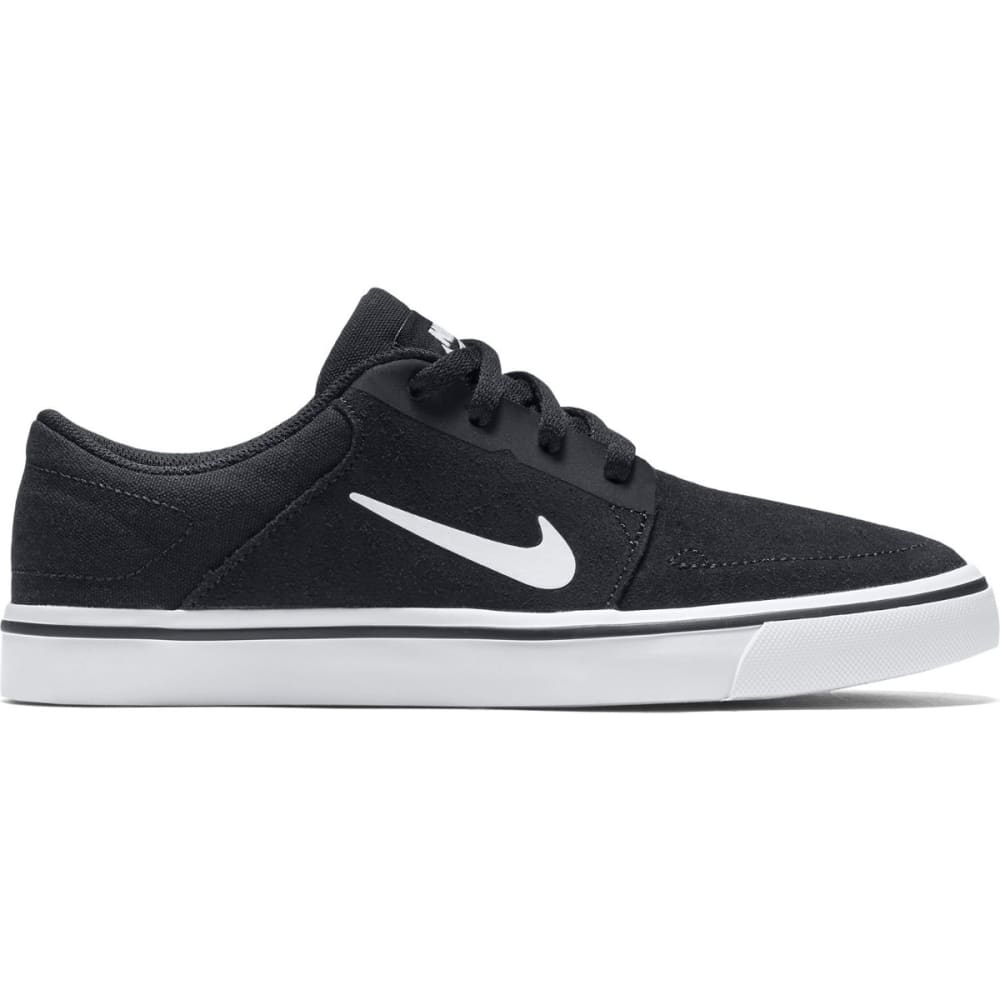 NIKE SB Boys' Portmore Suede Skate Shoes, Black/White - BLACK