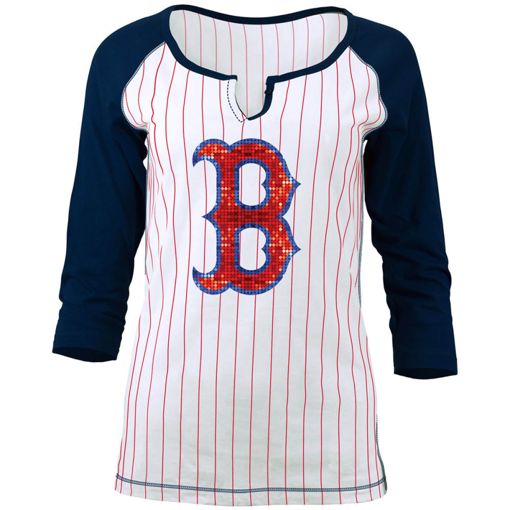 BOSTON RED SOX Women's Pinstripe Glitter ¾-Sleeve Raglan Tee - WHITE/NAVY