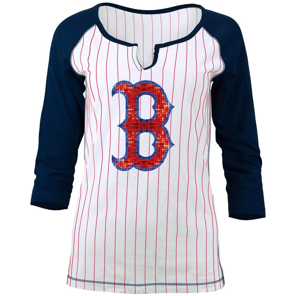 BOSTON RED SOX Women's Pinstripe Glitter ¾-Sleeve Raglan Tee - WHITE/NAVY