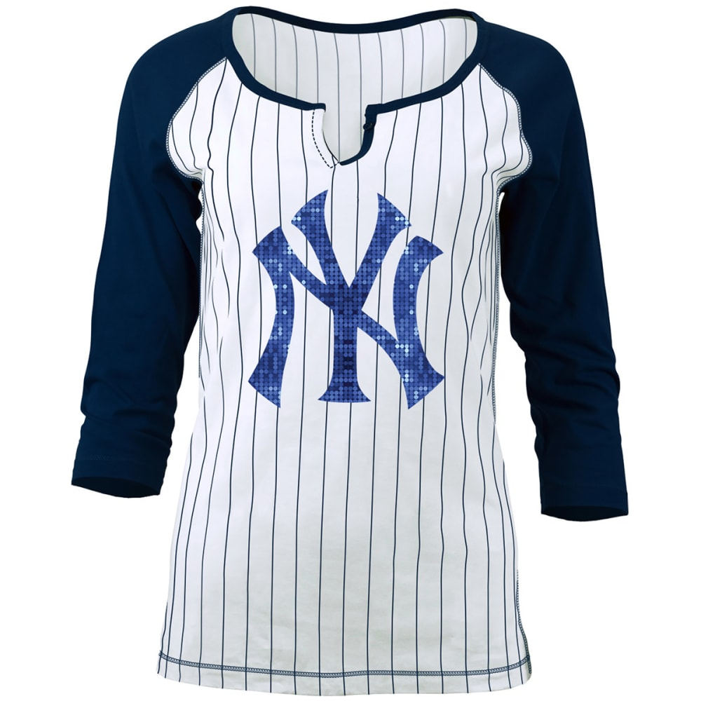 NEW YORK YANKEES Women's Pinstripe Glitter ¾-Sleeve Raglan Tee - WHITE/NAVY