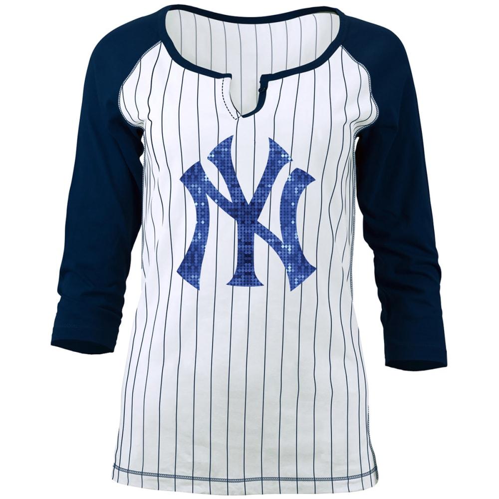 NEW YORK YANKEES Women's Pinstripe Glitter ¾-Sleeve Raglan Tee - WHITE/NAVY