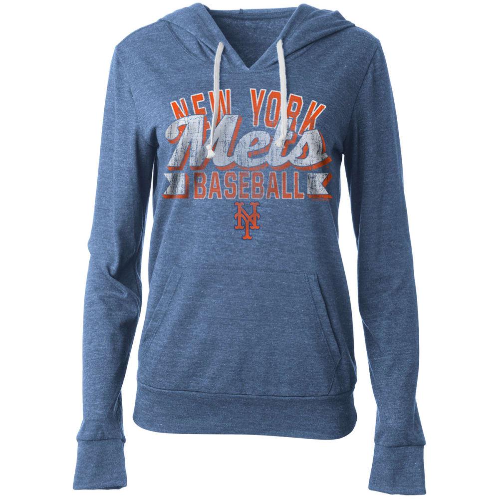 NEW YORK METS Women's Lightweight Heather Fleece Pullover Hoodie - ROYAL BLUE