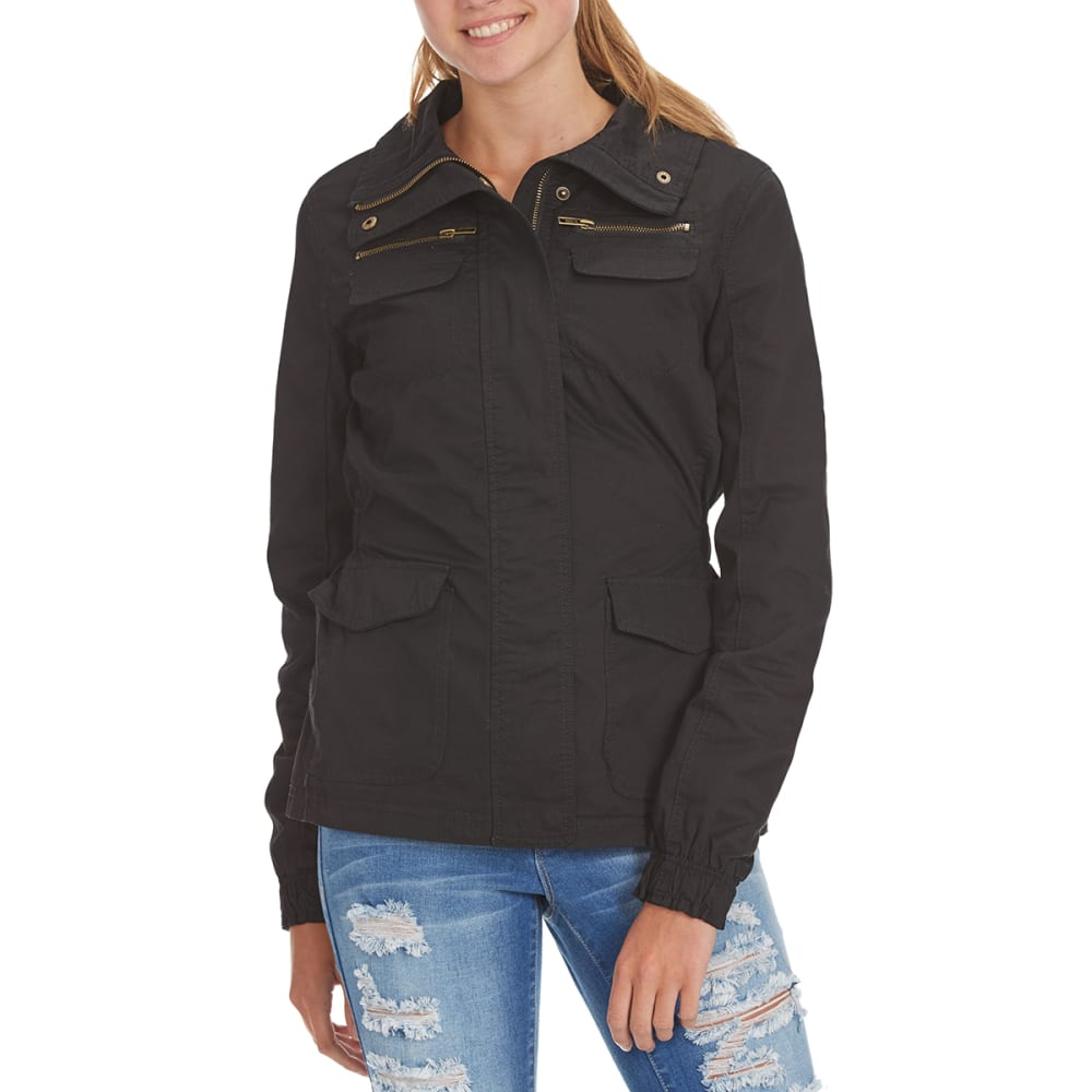 AMBIANCE Juniors' Military Jacket with Zippered Pockets - BLACK