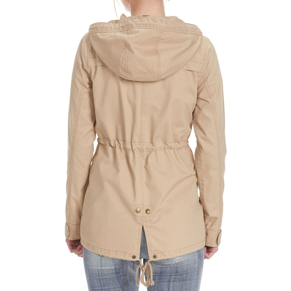 AMBIANCE Juniors' Military Jacket with Hood and Drawstring Waist - KHAKI
