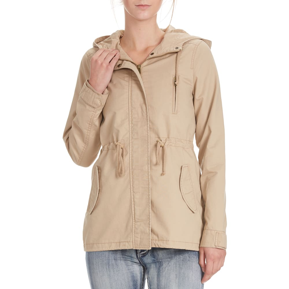 AMBIANCE Juniors' Military Jacket with Hood and Drawstring Waist S