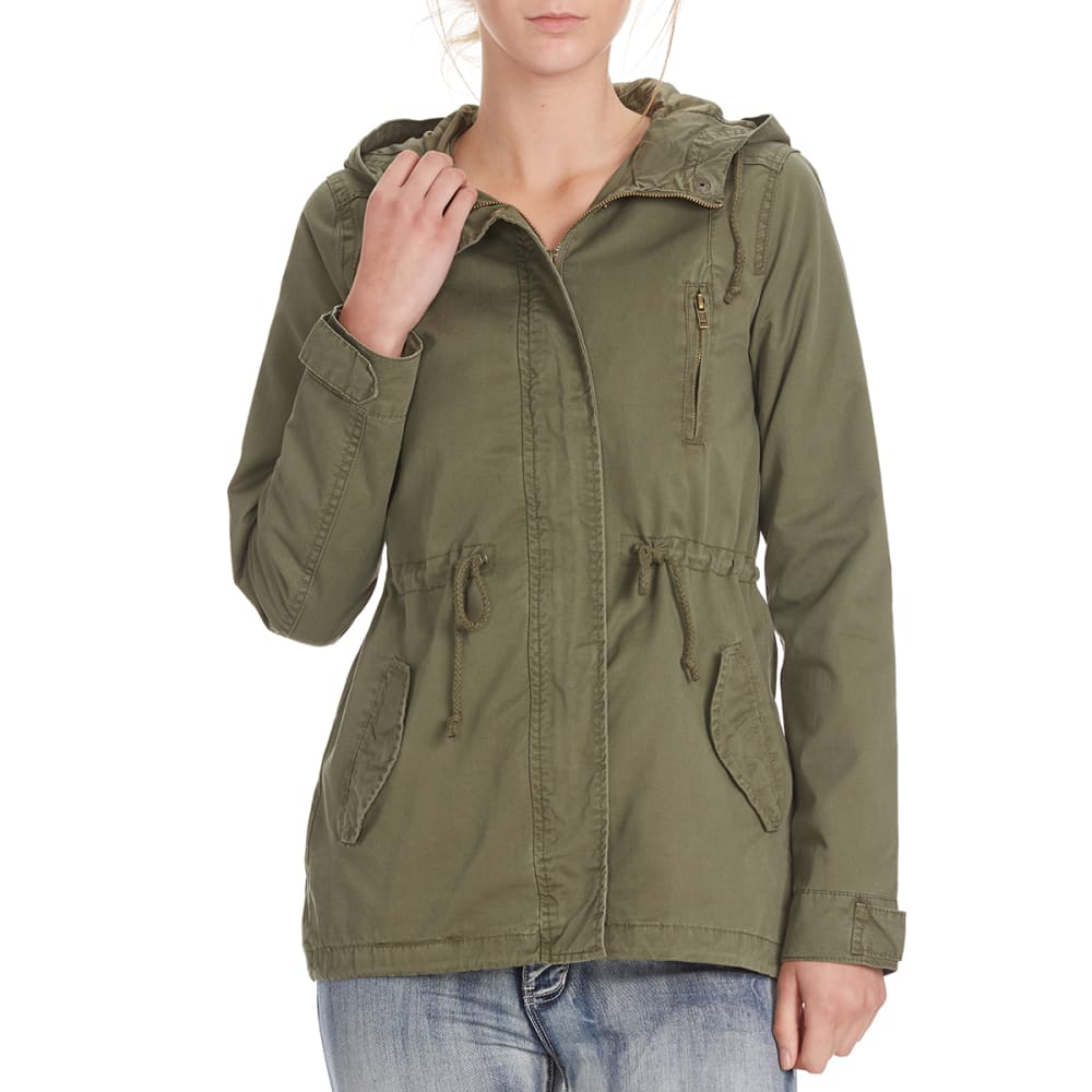AMBIANCE Juniors' Military Jacket with Hood and Drawstring Waist - OLIVE GREEN